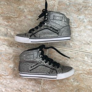 Silver sparkle high top sneakers